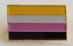 Non Binary Pride Flag Rectangular Enamel Pin Badge